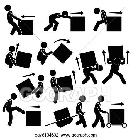 Vector man moving box. Action clipart human action