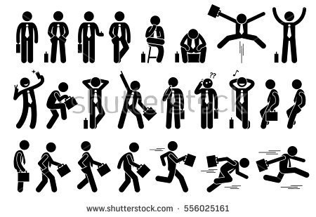Frequent forms a pattern. Action clipart human action
