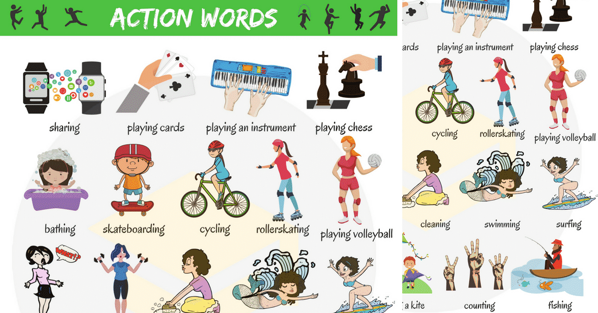 Words list of common. Action clipart kind action