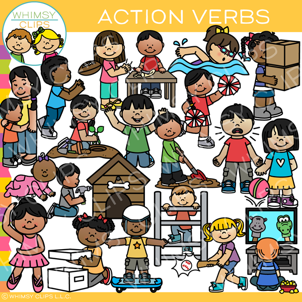 Verbs clip art images. Action clipart kind action