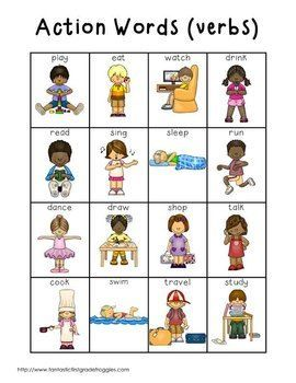 Action clipart kind action. Words verbs writing centers