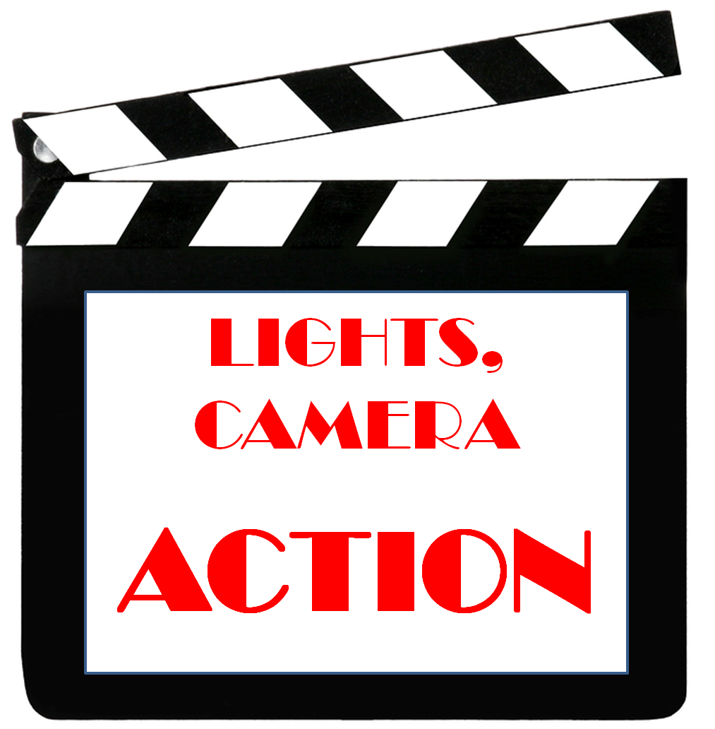 Action clipart lights camera action. Free download clip art