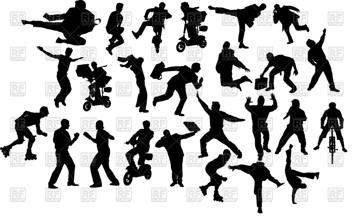 Cliparts people in motion. Action clipart person