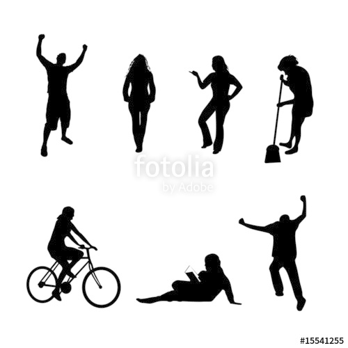 Action clipart person. Vector silhouettes pack a