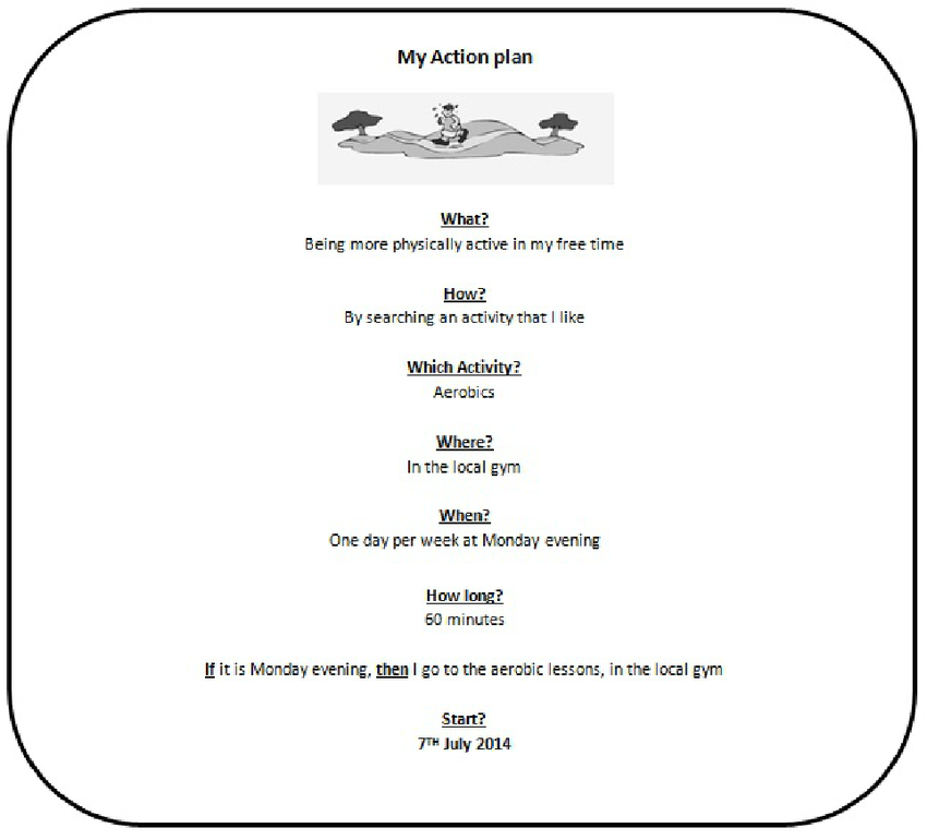 My plan example of. Action clipart physical activity