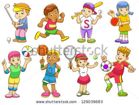 Kids playing sports clip. Activities clipart illustration