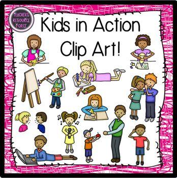 Kids in clip art. Action clipart preschooler