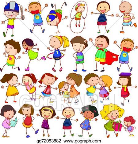 Action clipart preschooler. Vector illustration children actions