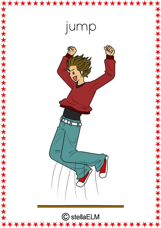 Action clipart run. Flashcards verbs verb jump