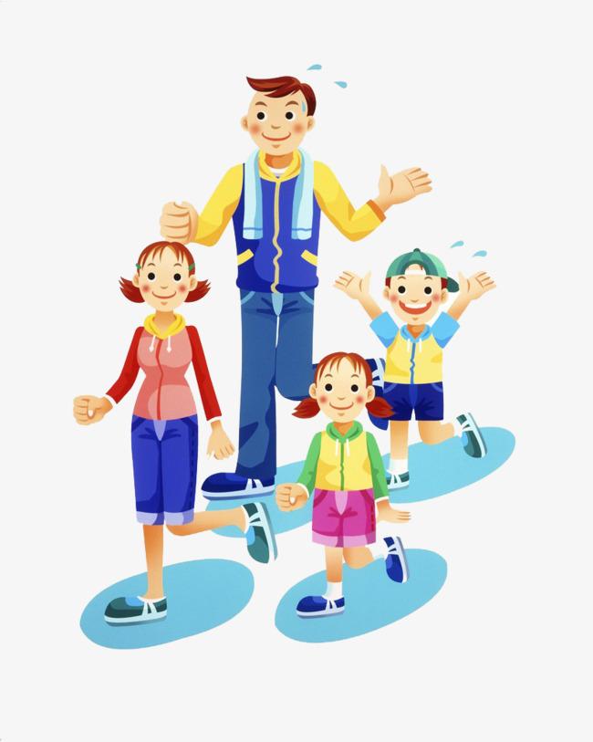 Family running cartoon png. Action clipart run