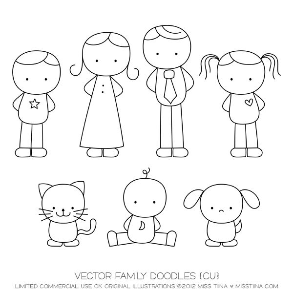 Family doodles digital stamps. Action clipart simple