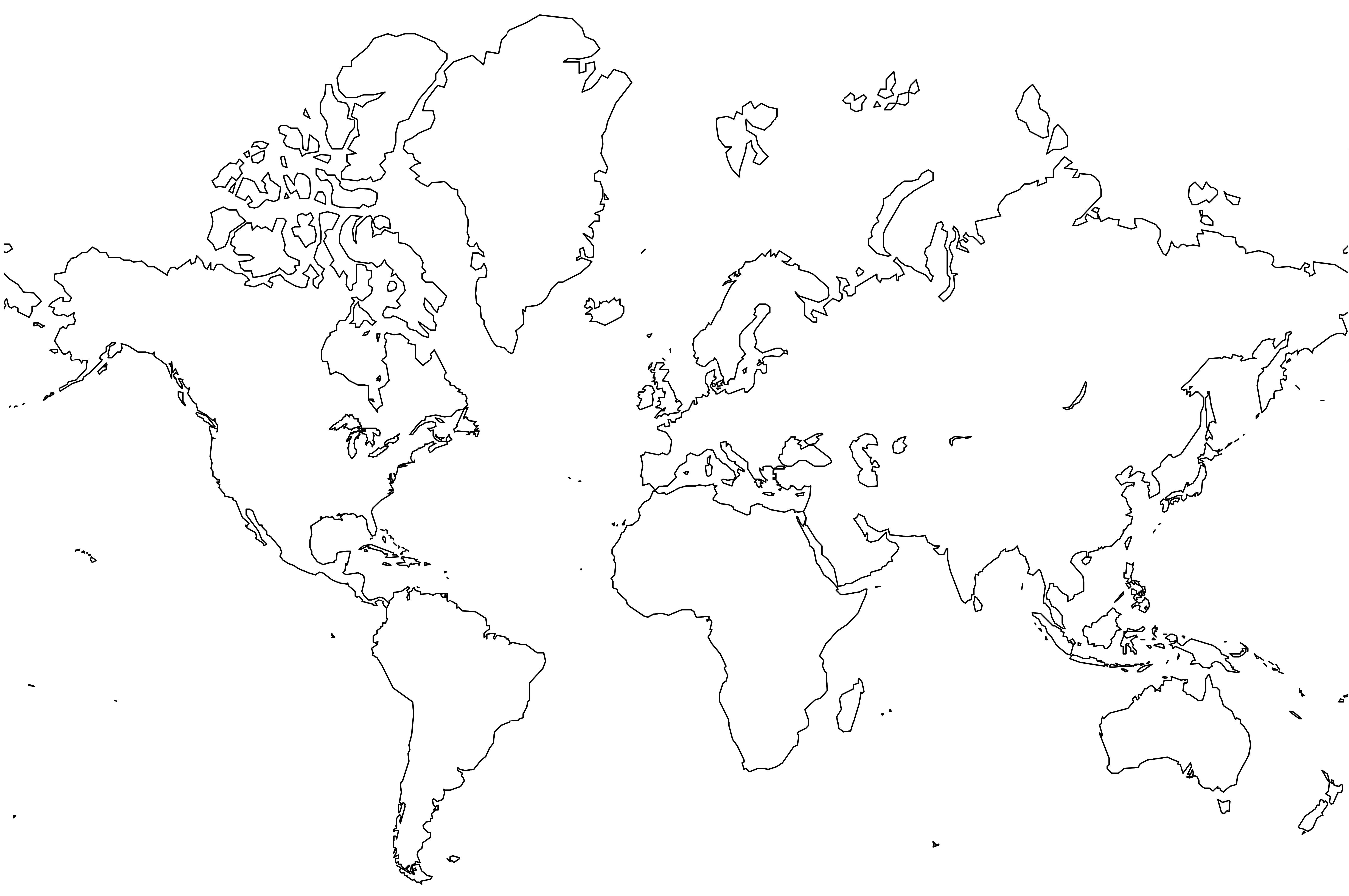 World map outline easy. Action clipart simple