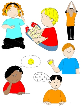 Kids in social skills. Action clipart skill