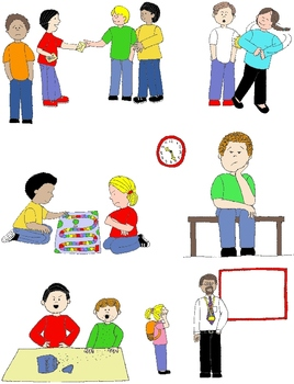 Kids in action skills. Learning clipart social skill