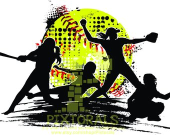 Action clipart softball. Etsy players vector png