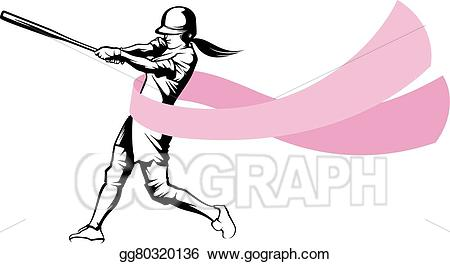 Action clipart softball. Vector art batter with