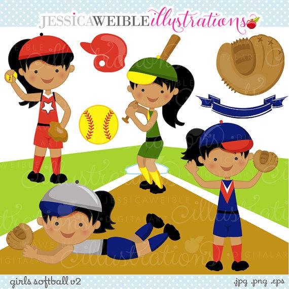 Action clipart softball. Girls v cute digital