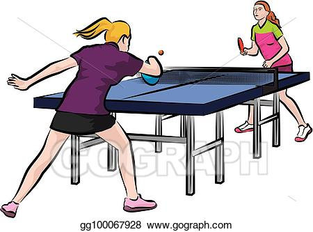 Vector illustration women s. Action clipart table tennis