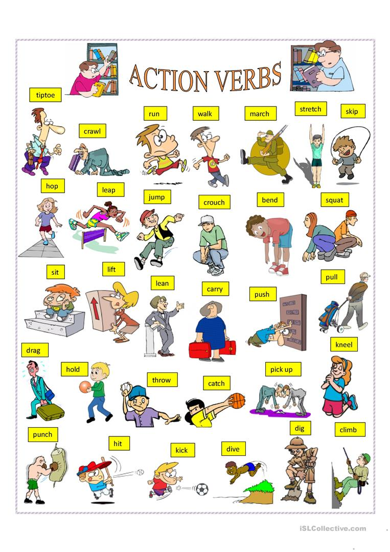 Words incep imagine ex. Action clipart verb