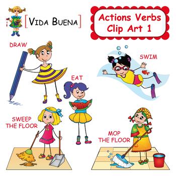 Verbs clip art . Action clipart verb