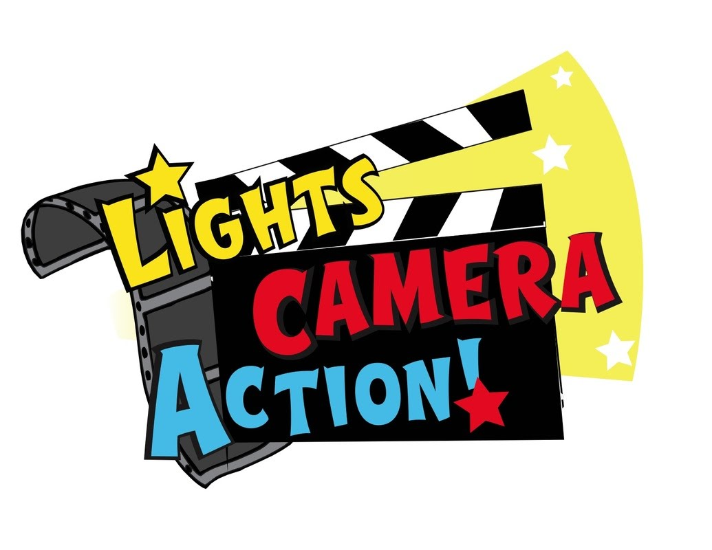 Action clipart video. Lights camera july youtube