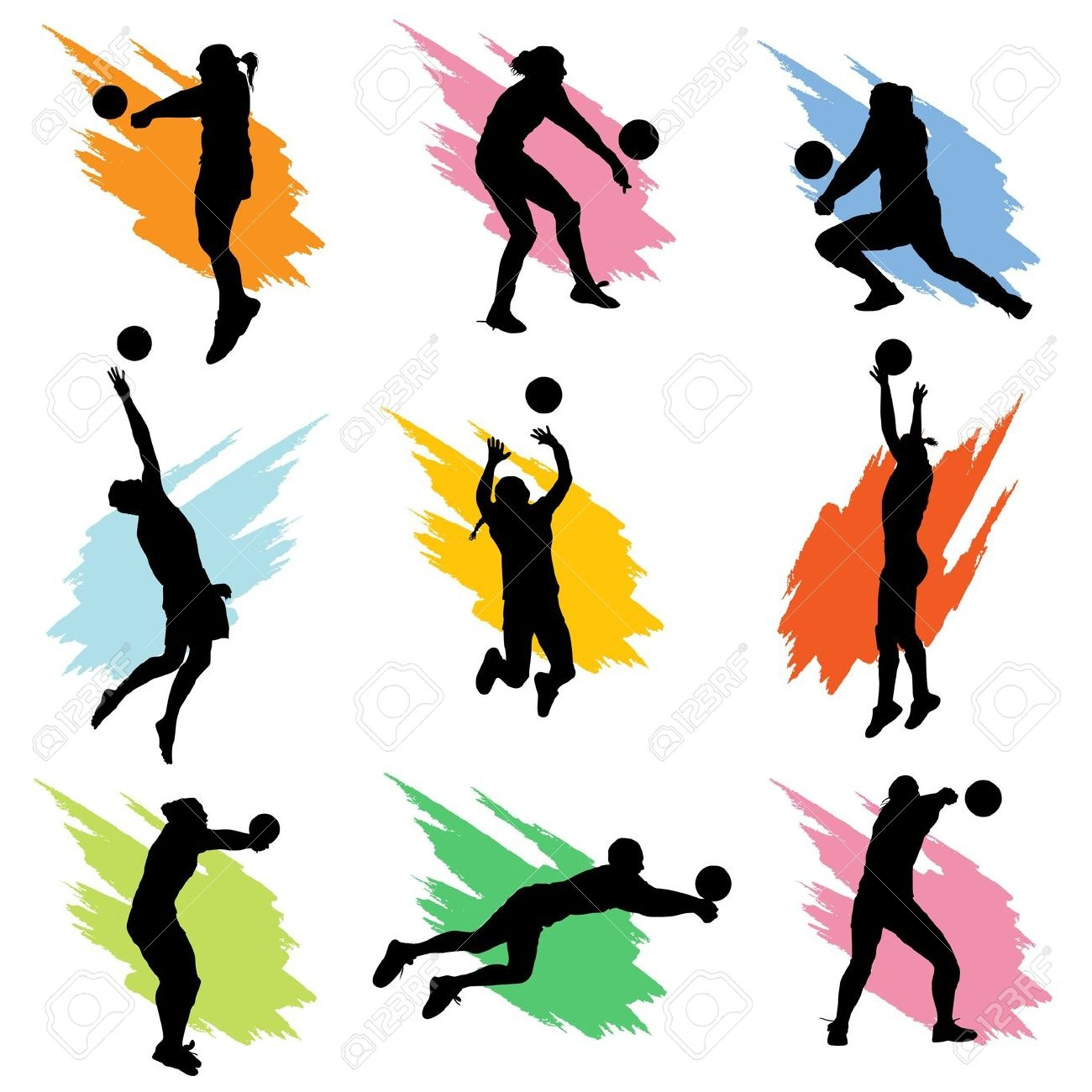 Action clipart volleyball. Players in station