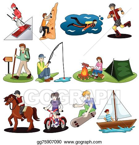Vector art active people. Activities clipart
