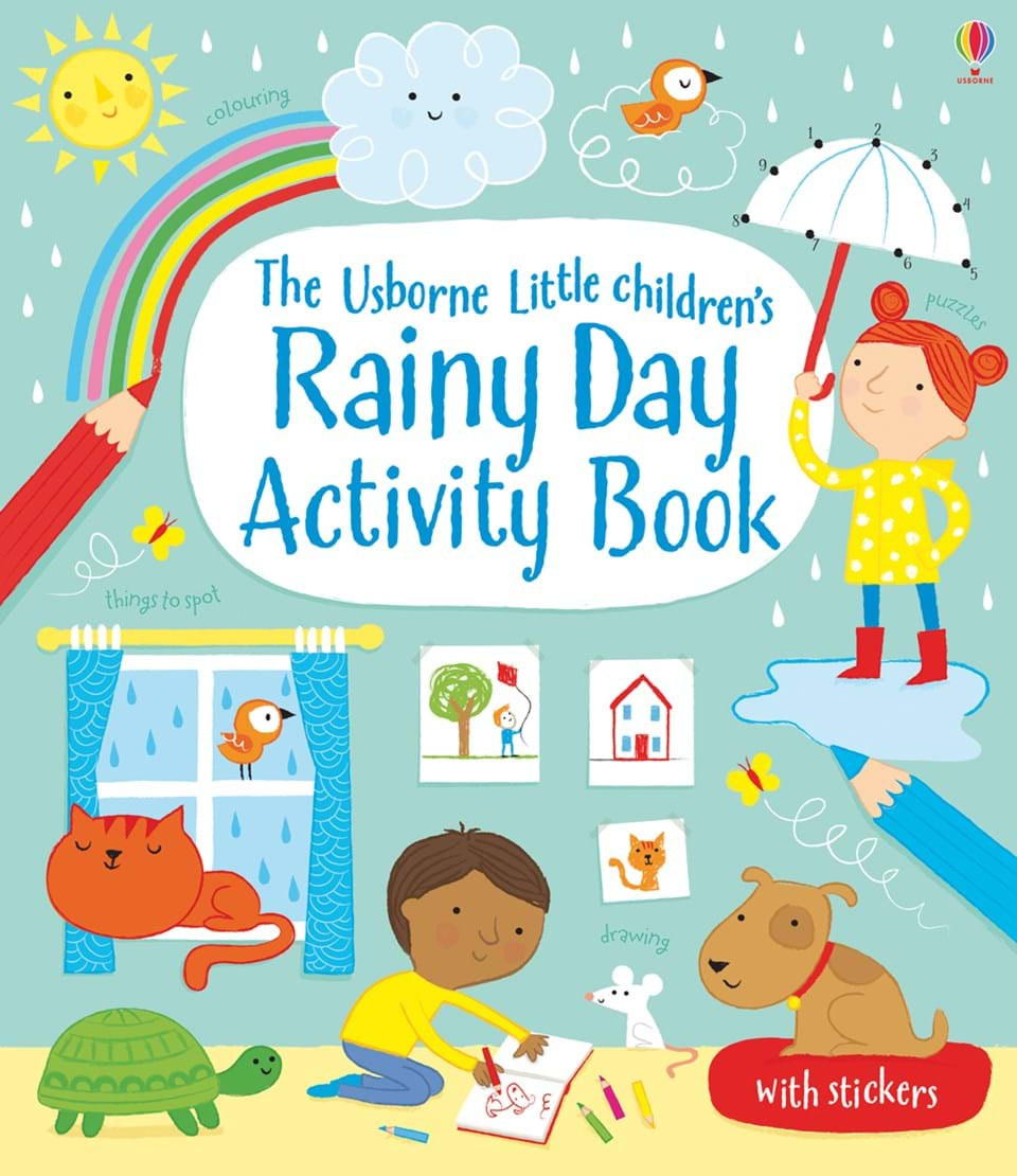 Activities clipart activity book. Little children s rainy