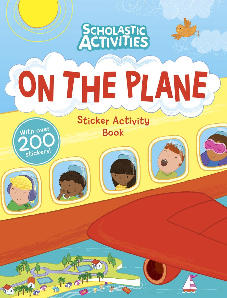 Activities clipart activity book. On the plane sticker