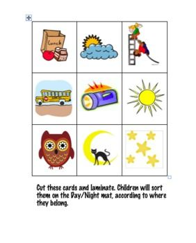 Day and night unit. Activities clipart activity sheet