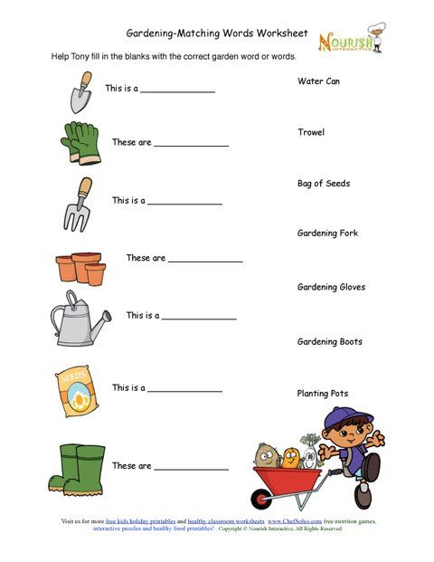 Kids gardening tools matching. Activities clipart activity sheet