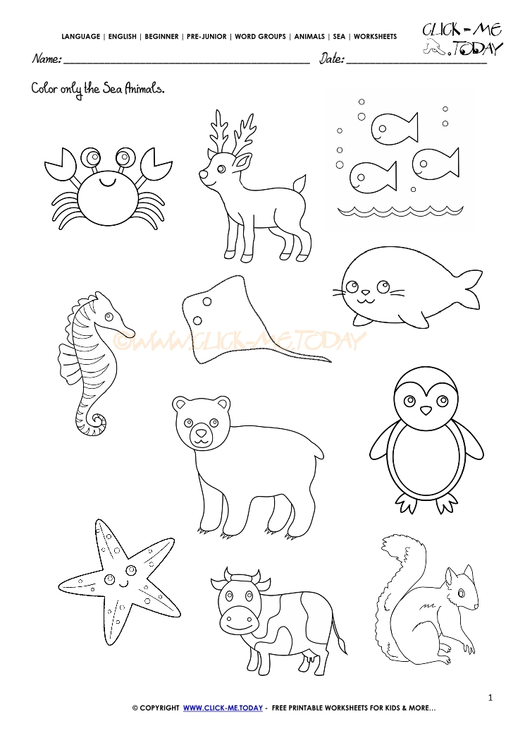 Sea animals worksheet color. Activities clipart activity sheet