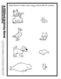 Worksheet baby animals match. Activities clipart activity sheet