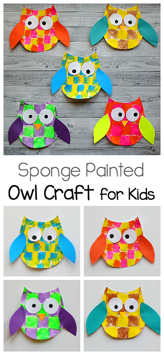 Activities clipart art project. Sponge painted owl craft