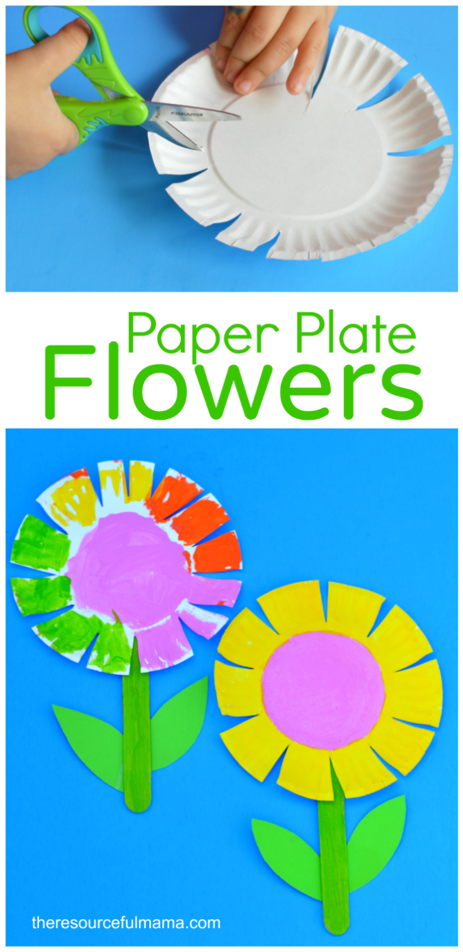 Paper plate flower craft. Activities clipart art project