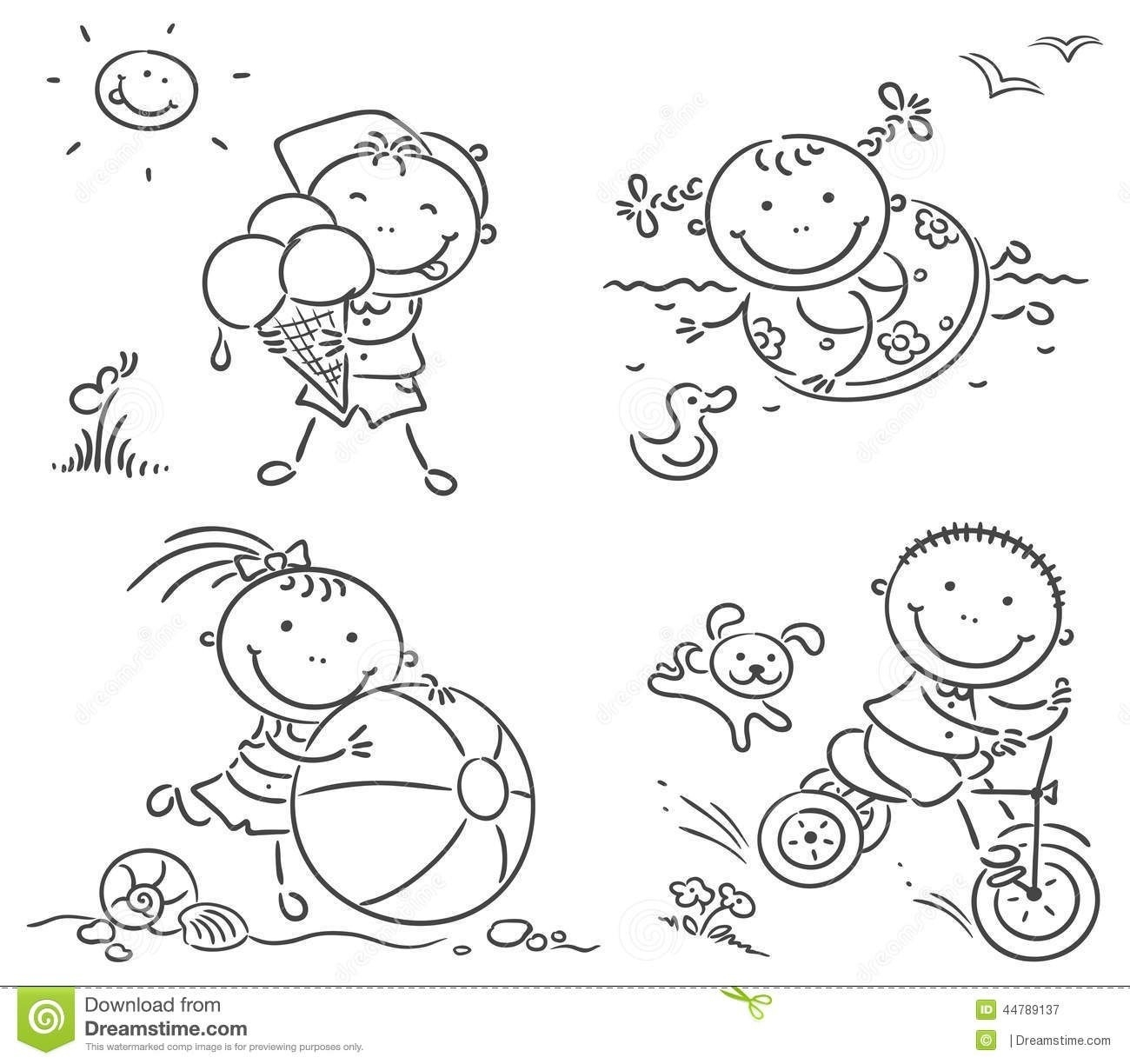 Children playing outside clipartuse. Activities clipart black and white