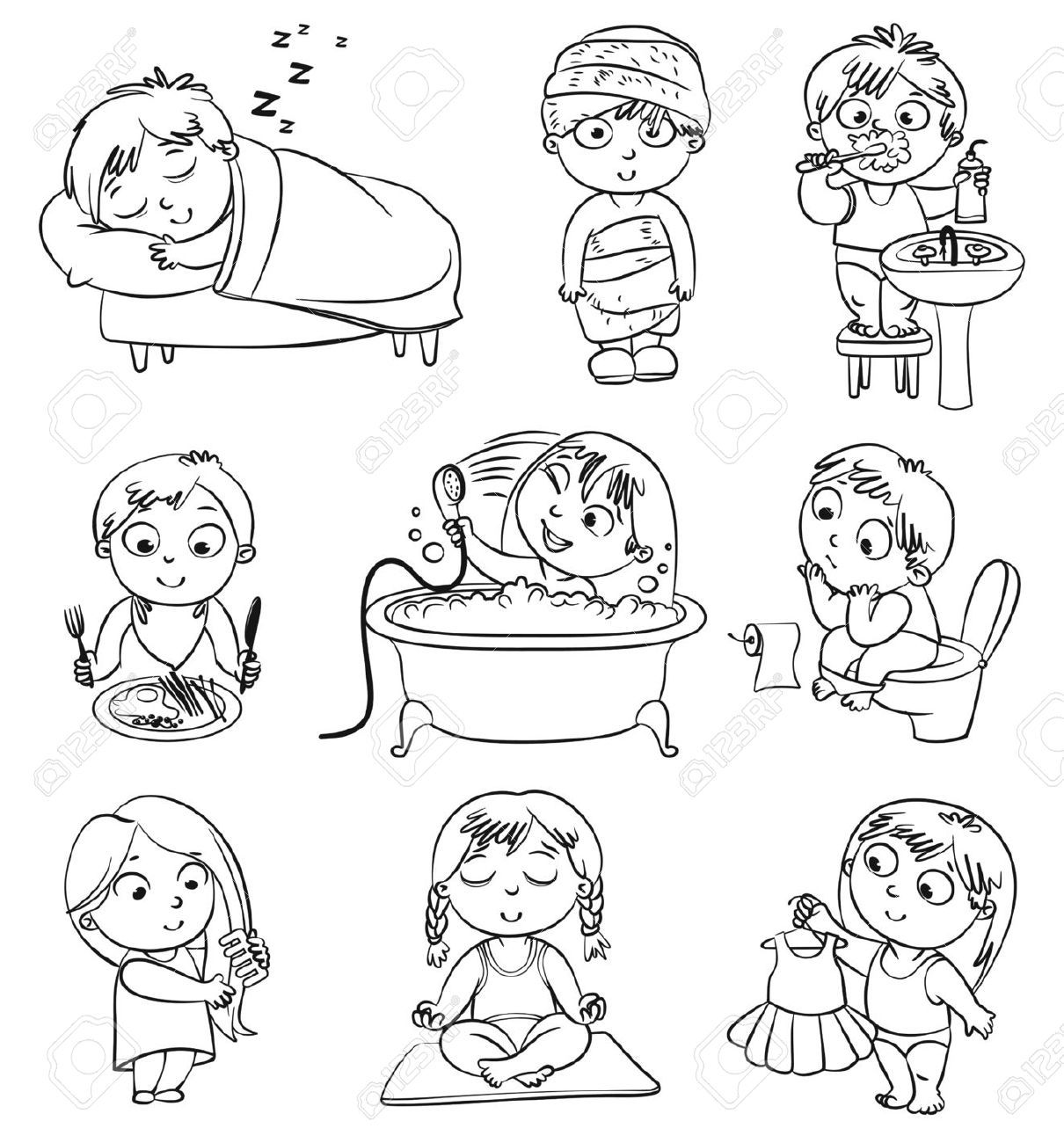 Activities clipart black and white. Good health habits cliparts