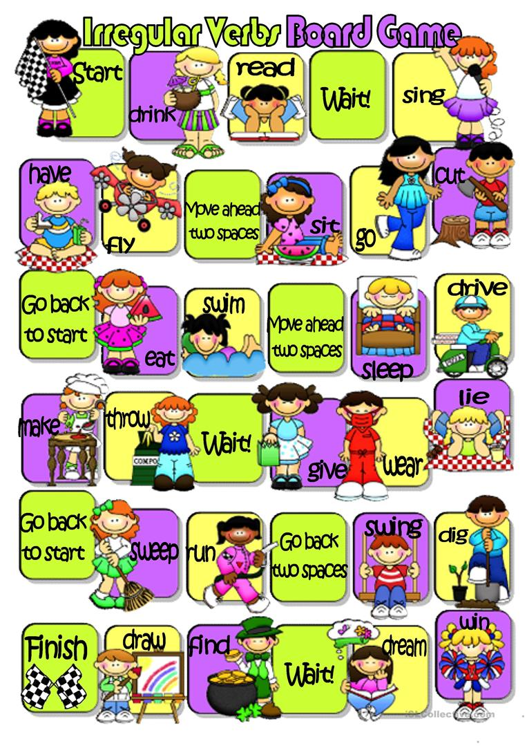 free esl irregular. Activities clipart board game