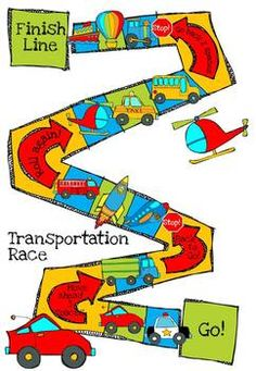 Transportation race pinterest. Activities clipart board game