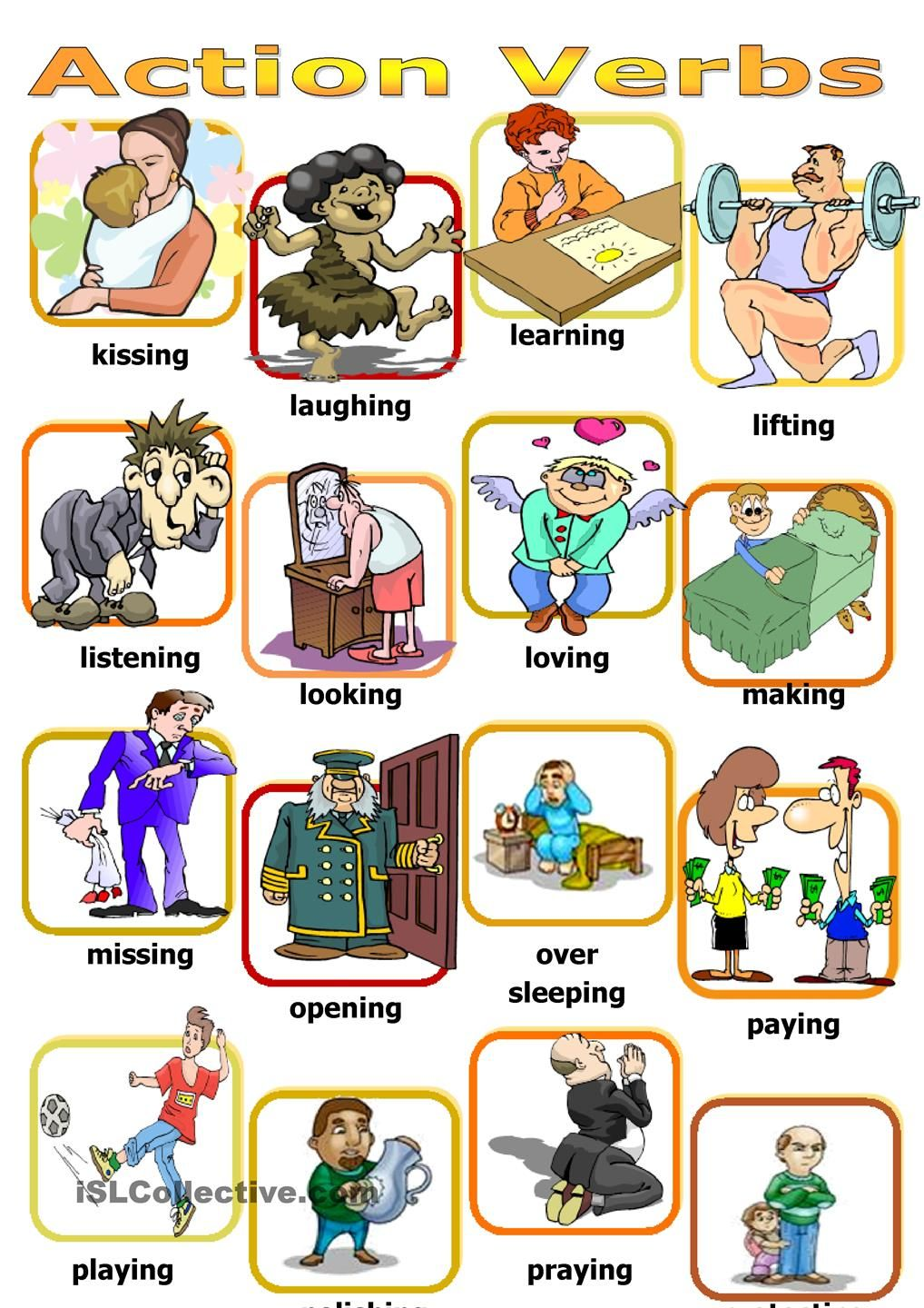 Activities clipart board game. Action verbs angol pinterest