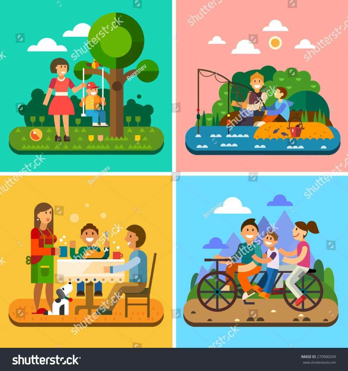 Family set with celebrations. Activities clipart cartoon
