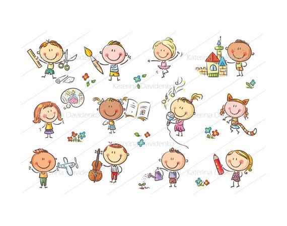 Kids creative active illustration. Activities clipart cartoon