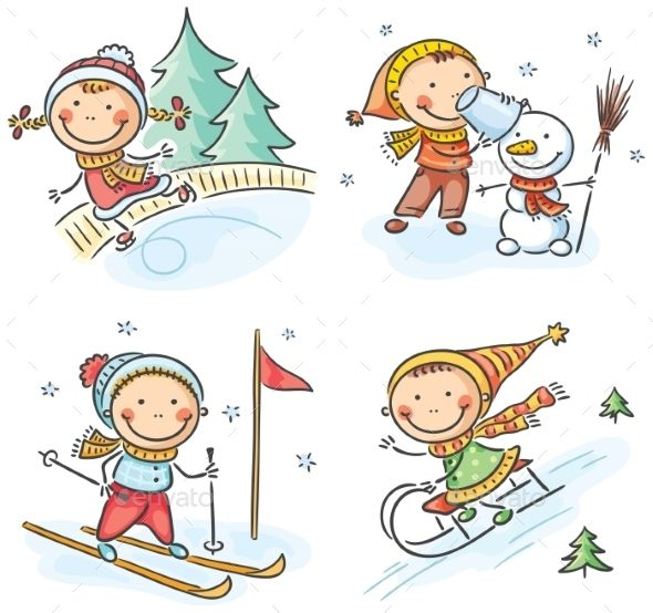 Outdoor winter. Activities clipart cartoon