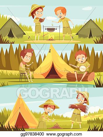 Activities clipart cartoon. Vector art scouts banners