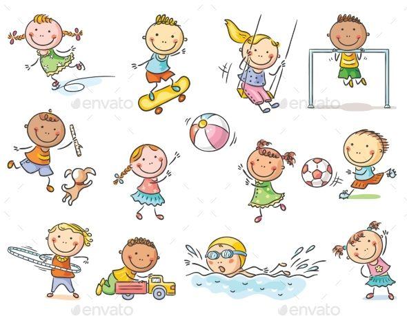 Activities clipart cartoon. Set of kids outdoor