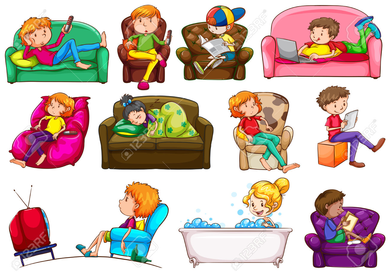 Kids broadcasting watching tv. Activities clipart clip art