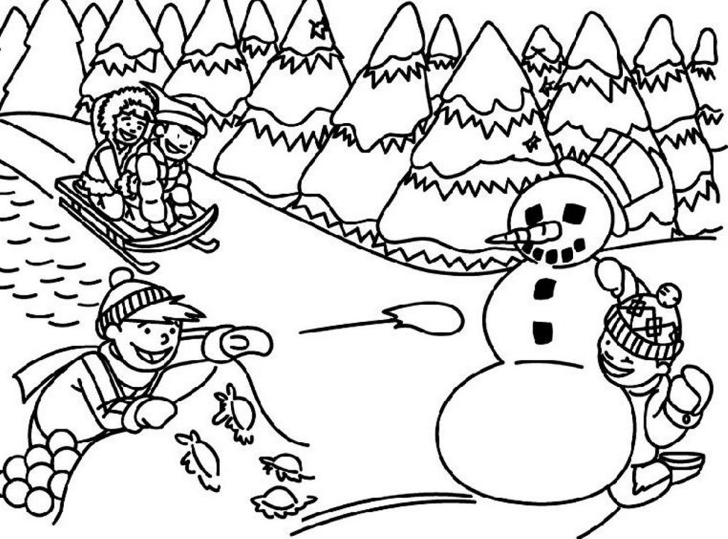 Winter holiday page for. Activities clipart coloring