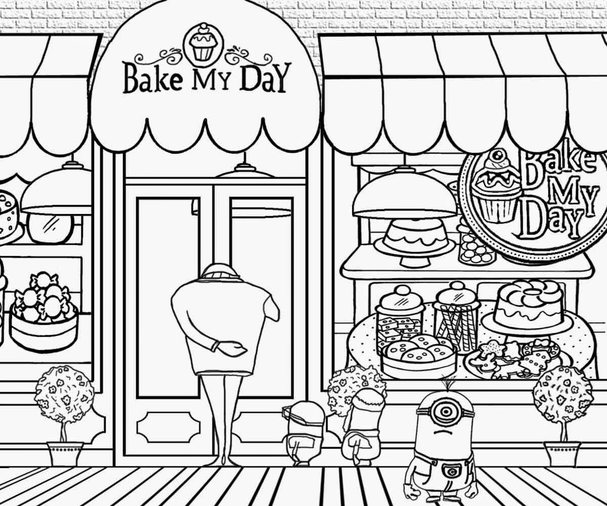 Free coloring pages printable. Baker clipart bakery store