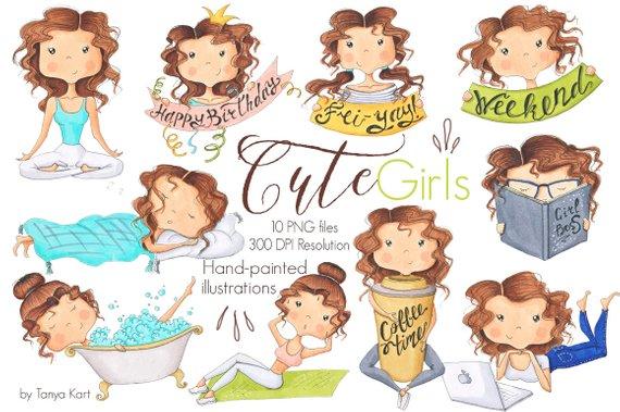 Girls planner . Activities clipart cute