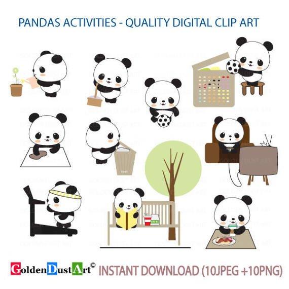Activities clipart cute. Pandas daily routines panda